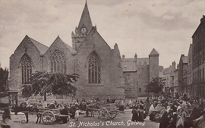 St Nicholas's Church, Galway, Ireland, old postcard, posted 1917