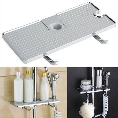 Bathroom Pole Shelf Shower Storage Caddy Rack Organiser Tray Soap Bidet Holder