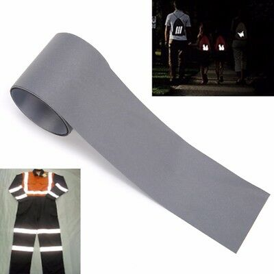 3m X 5cm Silver Reflective Warning Tape Safety Sew On Trim Sticker Synth Fabric