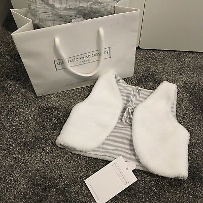 The Little White Company XS Baby White Fur Reversible Gilet. New With Bag & Tags