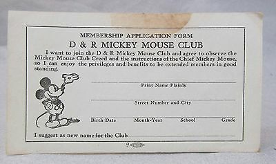 circa 1930 D&R MICKEY MOUSE CLUB Membership Application Form - unused
