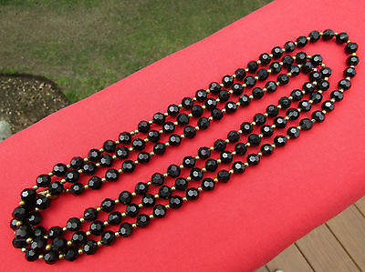 Vintage Victorian Mourning or French Jet Black and Gold Bead Necklace 56 Inch
