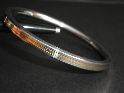 New design Sikh Kara Stainless Steel Smooth Bangle with Gold toned center