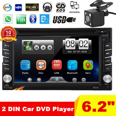 "6.2"" Double 2 DIN Touch Car Stereo Radio DVD Player GPS Sat Nav BT + Rear Camera"