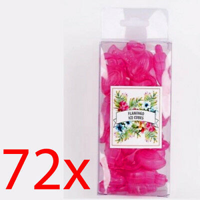 72 Flamingo Shape Ice Cubes Reusable For Cold Drinks Bar Retro Kitsch Bbq Pink