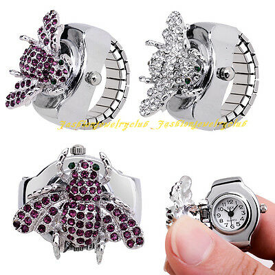 Fashion Women Girl Crystal Insect Alloy Round Elastic Quartz Finger Ring Watch