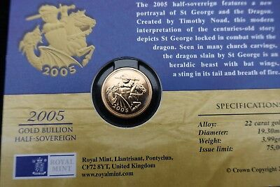 Gold ( Half ) Sovereign 2005 within Royal Mint card some surface nicks open card