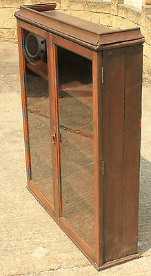 Solid Wood Dark Oak Edwardian  Antique Bookcase Cabinet with Glass front