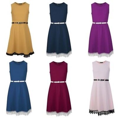 Girls Belted Lace Hem Skater Dress Textured Casual Smart Party Top 3-14 Years
