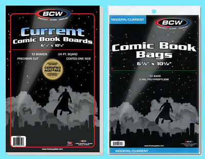 10 BCW CURRENT COMIC BOOK BAGS & BACKING BOARDS Clear Archival Acid Free Modern