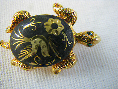 Vintage Spain Damascene Goldtone Turtle Green Rhinestone Eyes Brooch Pin