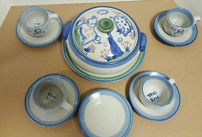 """MA Hadley Country Casserole, 11"""" Plate, 4 Cup/Saucer Sets, & 3 Saucer Watermelon"""