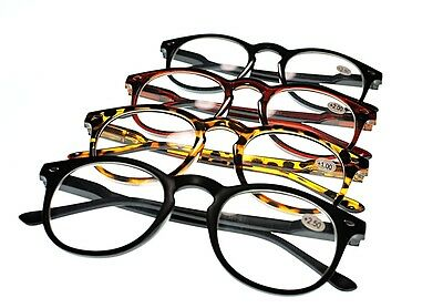 MY67Spring Hinged Oval Fashion Reading Glasses Retro Classic 4 Colours +1.5+2.0