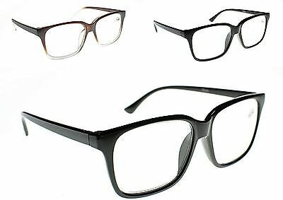 GEEK/NERD Large Unisex Stylish Reading Glasses in 3 Colours+1.0+1.5+2.0+2.5 TN44