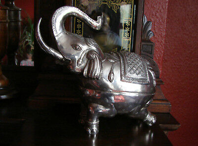A Vintage, Very Large & Heavy Khmer Solid Silver Elephant  Betel Nut Box