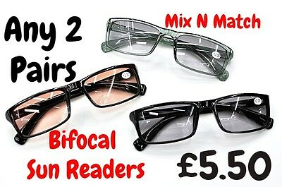 ANY 2 PAIRS  Bifocal Multi Purpose Unisex. Lens Tinted Sun Reading Glasses TN68