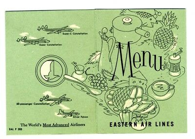 Eastern Airlines Constellation & Silver Falcon Menu 1950's