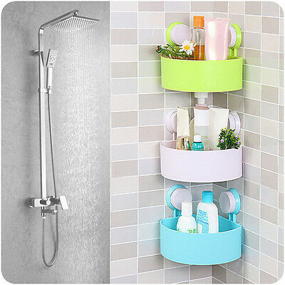 Bathroom Shelf Corner Shower Shelf Rack Bath Storage Plastic Suction Cup New