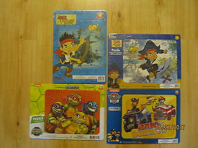 Lot of 4 NEW Frame Tray Puzzles 2 Jake the Pirate, Ninja Turtles, Paw Patrol