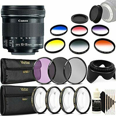 Canon EF-S 10-18mm f/4.5-5.6 IS STM Lens for Canon SL1 SL2 with Accessories