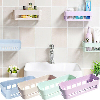 Plastic Suction Cups Bathroom Kitchen Corner Storage Rack Organizer Shower Shelf