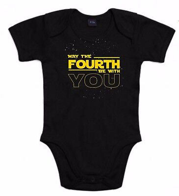 BODY STAR WARS MAY THE FORTH FORCE LETRAS YODA DARTH VADER T-SHIRT SIL Pw083