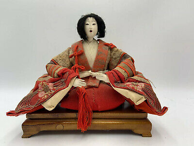 Antique Hina Ningyo Japanese Doll Sitting Wood Platform Stand