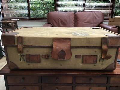 Vintage Leather & Fabric Luggage Case / Travel Trunk / Chest