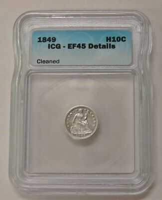 1849 - Seated Liberty Half Dime - ICG EF 45 Details