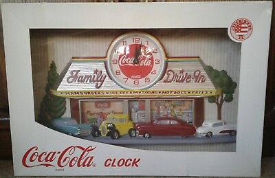 Vintage Coca Cola 3D Wall Clock 1950's Family Drive In Diner New In Box