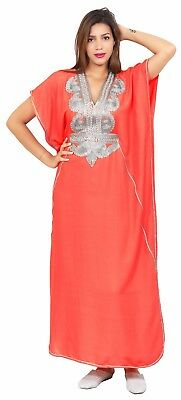 Moroccan Women Caftan Muslim Long Dress Casual Kaftan Abaya Cotton Salmon
