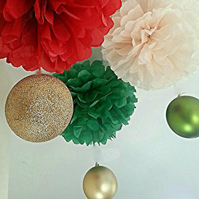 3 x christmas xmas tissue paper pompoms hanging christmas decorations
