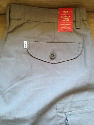 New With Tags Levi's Men Cotton Cargo Shorts Original Relaxed Fit Grey Sz 34