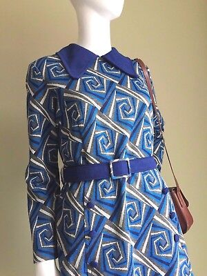 VINTAGE 60's Cobalt Blue Navy COLLAR Mini Dress - Mod Vtg Retro DRESS 60s - 12