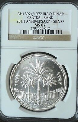 Iraq  Ah1392 (1972) 1 Dinar  Ngc Ms 67  Central Bank  25Th Anniversary   Silver