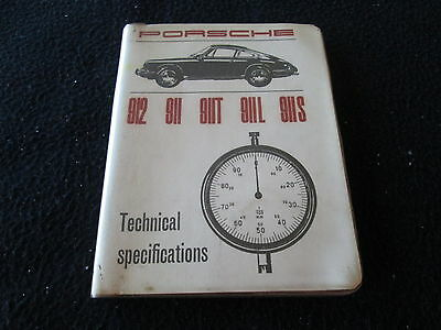 1965-1968 Porsche 911 912 Tech Specification Book 911L 911T 911S L T S  1966 67