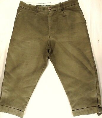 """Vintage Pure Cotton Moleskin """"hoggs"""" Plus Fours. Olive Hunting Green 36"""" Waist"""