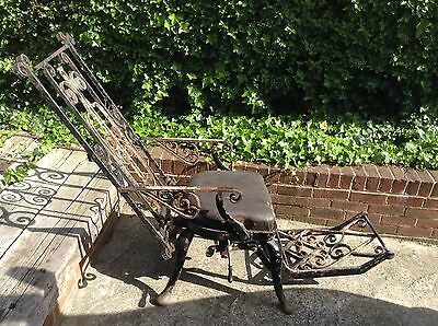 Vintage early Victorian dentist medical cast iron designer chair industrial