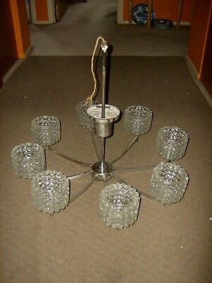 Vintage 8 Light Mid Century Modern Ice Glass Chandelier Large