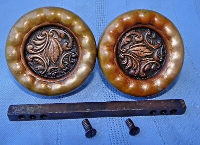 Victorian Eastlake Antique Ornate Brass Door Knob Set Leaf Floral Drum Bronze