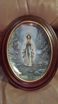 Rare!  Framed, Our Lady Lourdes Plate - Hector Garrido - Visions Of Our Lady