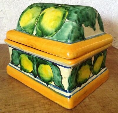 Vintage Handcrafted Beautiful Casal Talavera Ceramic Dome Lid Box Lemons Mexico