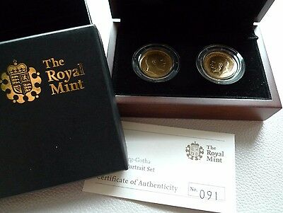 A boxed Royal Mint two-coin Saxe-Coburg-Gotha Sovereign Portrait Set, 1906/1913