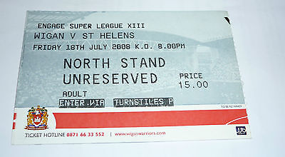 WIGAN WARRIORS v St HELENS 18th JULY 2008 TICKET