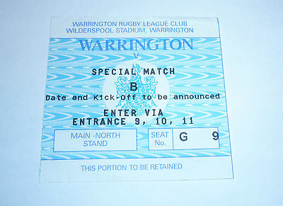 WARRINGTON v SPECIAL MATCH B TICKET TO WILDERSPOOL STADIUM, DATE TO ANNOUNCED