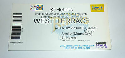 LEEDS RHINOS v St HELENS 19th MARCH 2011 TICKET