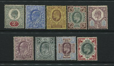 GB 1902 KEVII 9 values from 2d to 1/ unused no gum