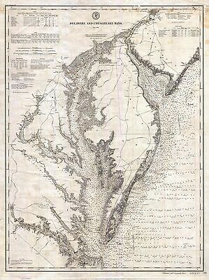 1893  US Coast Survey Nautical Chart or Map Chesapeake and Delaware Bay