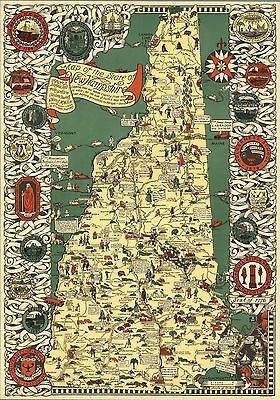 1926 pictorial Historical map State of New Hampshire POSTER 8907000