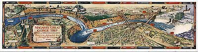 1930 PICTORIAL Map Niagara Falls Great Gorge Trip Whirlpool Rapids Route 9531
